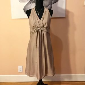 Silk Nude Gold Ann Taylor Dress Size 8